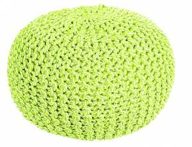 Cotton Two-Tone Round Handmade Double Knitted Pouffe - Green /Cream