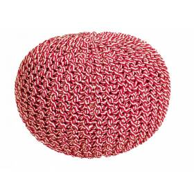 Cotton Two-Tone Round Handmade Double Knitted Braided Pouffe - Red /Cream