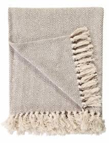 2 Tone Super King Size Herringbone Cotton Bedspread 225 Cm x 380 Cm -Beige