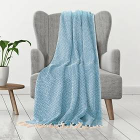 Cotton Zigzag Handwoven Single Bed Or Arm Chair Throw  - Teal