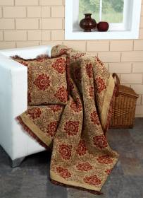 Damask Chenille Jacquard Throw For Single Bed & Armchair -Beige