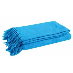 Large Cotton Waffle 2 Seater Sofa/Double Bed Throw, Dazzling Blue