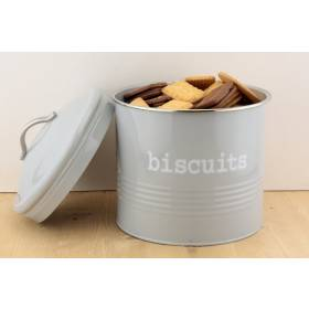 Ehc Airtight Round Shaped Biscuits Storage Canister Jar, Grey