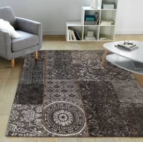 Chenille Patchwork 120 x 160 cm Floor Carpet Rug - Black/Grey