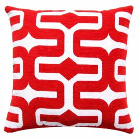 "Classic Chenille Moroccan Cushion Cover 17"" x 17"" - Red"