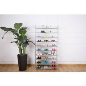 10 Tier Maximum Capacity Metal Shoe Organizer With Non Woven- Grey