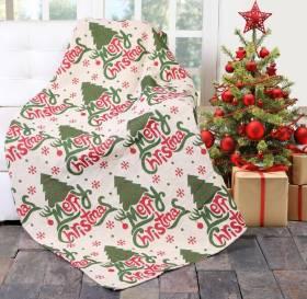 EHC Jacquard Tapestry Reversible Merry Christmas Throw -127 x 152cm