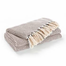 EHC Luxury Super Soft Cotton Diamond Large Throw - Beige, 150 x 200 cm