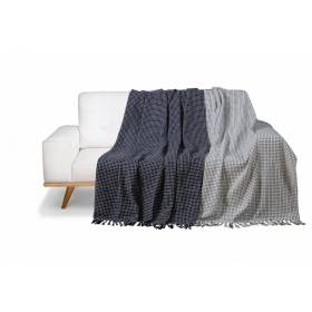 Pack of 2 Dot Check Throws for Sofa Settee Chair  - Navy Blue/ Ivory