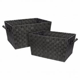 Set Of 2 Polypropylene Woven Strap Storage Shelf Basket, Grey