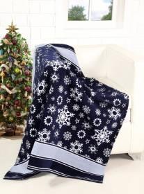 Festive Merry Xmas scroll & Xmas Tree Pattern Sofa Bed Throw-127x152cm