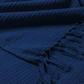 Hand Woven Waffle Design Pure Cotton Large Sofa Throw- Navy Blue