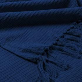 Hand Woven Waffle Design Pure Cotton  Single Sofa Throw- Navy Blue