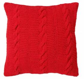 HandMade Chunky CableKnit Cotton Cushion Cover  - 40 x 40 cm, Red