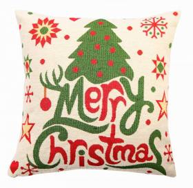 Jacquard Tapestry Decorative Festive Merry Xmas Cushion Cover- 45 x 45cm
