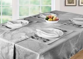 Luxury Damask Pack Of 6 Table Napkins- Grey (43cm x 43cm )