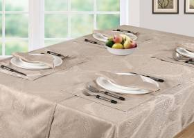 Luxury Damask Rectangular Table Cloth- Beige( 138cm x 229cm )