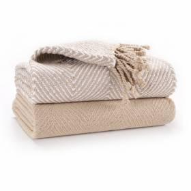Luxury Pack of 2 Chevron Cotton Single Sofa Throw , 125x 150cms - Beige