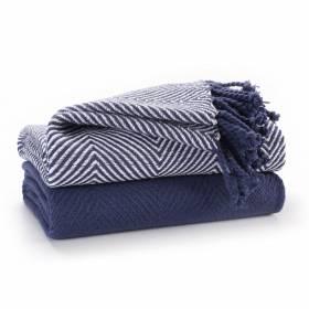 Luxury Pack of 2 Chevron Cotton Single Sofa Throw , 125x 150cms - Navy Blue