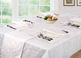 Luxury Rectangle Scroll Table Cloths Cover,For Parties & Wedding-White