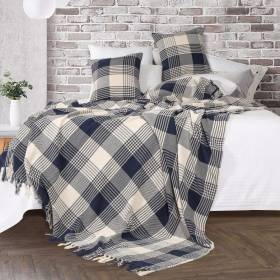 Premium Reversible Extra Large Cotton Tartan Thro Sofa/Armchair-Navy Blue