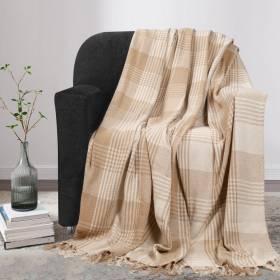 Premium Reversible Large Cotton Tartan Throw for Sofa or Armchair-Beige