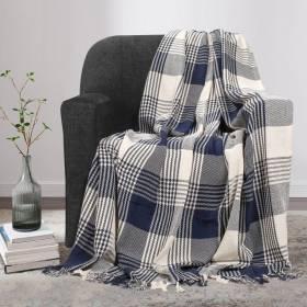 Premium Reversible Large Cotton Tartan Throw for Sofa or Armchair-Navy Blue