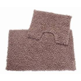 Pure Cotton,Washable 2 Piece Bathmat & Pedestal Anti-Slip Back Set-Mocha
