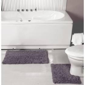 Pure Cotton,Washable 2 Piece Bathmat & Pedestal Anti-Slip Back Set-Smoke