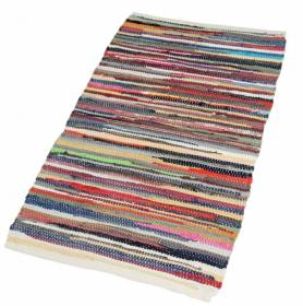 Recycled Cotton Handmade Multi Coloured Chindi Floor Rug - 60 x 200 Cm