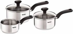 Tefal Comfort Max Stainless Steel Saucepan Set, 3 Pieces - Silver