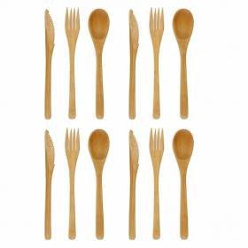 Premium Quality 12 Pack Re-Usable Bamboo Cutlery Set