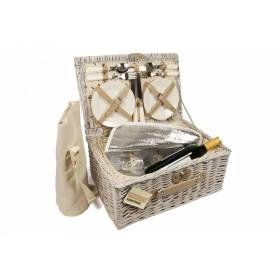 Woodluv 4 Person Picnic Basket With Carry Green Checker Lining, Natural