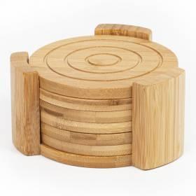 Woodluv 6 Bamboo Round Coaster Set in Bamboo Holder Pot Holder