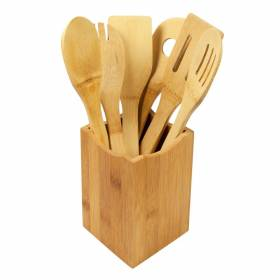 Woodluv 6 X Bamboo Serving Spoons Set With Utensil Holder Set