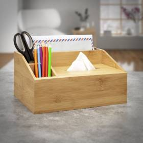Bamboo Multi purpose Desk Organizer Caddy with Tissue box