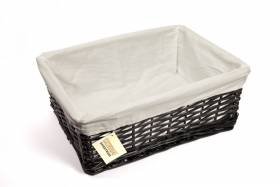 Woodluv Black Wicker Storage Basket With Cloth lining Large