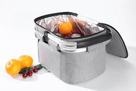 Woodluv Collapsible Insulated Picnic Cool Bag With Aluminium Handles, Grey