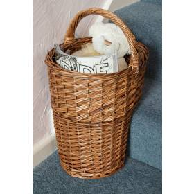 Woodluv Elegant Wicker Oval Stair Basket With Handle, Brown