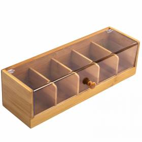 Woodluv Five compartments Bamboo Tea Bag Storage Box