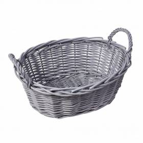 Woodluv Lined Wicker Oval Storage Gift Hamper Basket With Handles, Grey