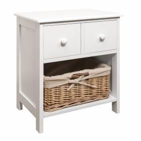 Luxury 2 Drawer MDF Cabinet with Wicker Basket - White