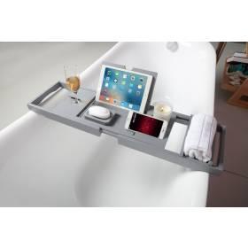 Woodluv Luxury Extendable Bamboo Bath Tub Caddy - Grey