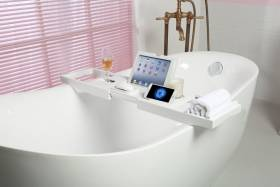 Woodluv Luxury Extendable Bamboo Bath Tub Caddy - White