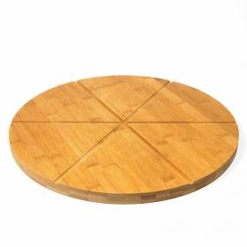 """Woodluv Natural Bamboo Pizza Cutting Board With 6 Grooves - 15.7"""""""