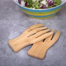 Woodluv Natural Bamboo Wooden Salad Servers For pasta and Salads