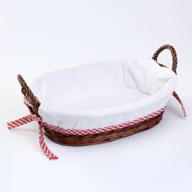 Woodluv Oval Wicker Hamper Basket With White Lining and Side Handles