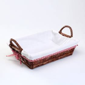 Woodluv Rectangular Wicker Hamper Basket With White Lining and Side Handles