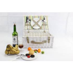 Woodluv White Antique Picnic Wicker Hamper Basket for 2 Persons With Handle