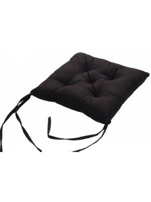 4 X  Quilted Seat Pad/Chair Cushion with Ties, 40 x 40 x 6cm - Black